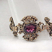 Outstanding Crown Bracelet Purple Rhinestones