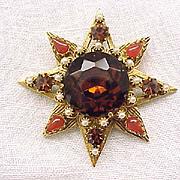 Stunning Florenza Pin/Pendant - Topaz, Faux Pearls, Faux Carnelian