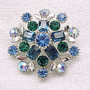 Lovely Lisner Rhinestone Pin, Earrings