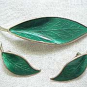 Exquisite David Andersen Leaf Pin & Earrings