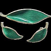 03 - Exquisite David Andersen Leaf Pin & Earrings