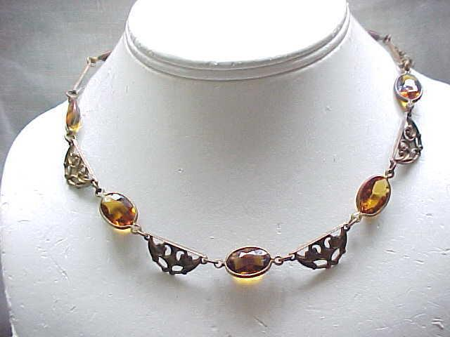 Lovely Art Nouveau Czech Necklace - Amber Rhinestones