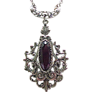 Gorgeous Whiting & Davis Pendant Necklace Purple Rhinestone Silvertone Metal