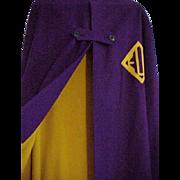 WWII Nurse's Cape - Purple & Gold Wool - Emblem EUH