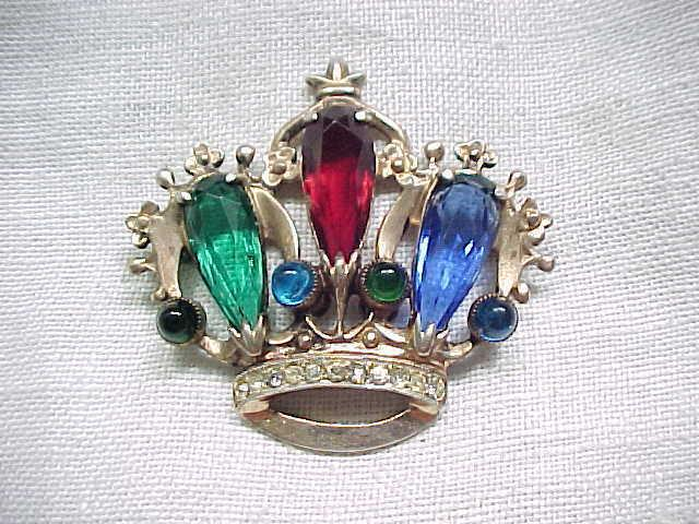 Exquisite Sterling Silver Crown Pin - Gold Wash - Jewel Colors - Book Piece