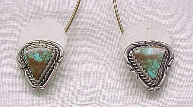 Outstanding Sterling & Turquoise Earrings - Clips