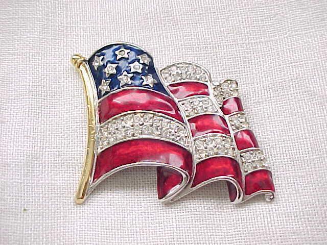 Fabulous Patriotic Pin - Rhinestones, Enamel - Ann Hand