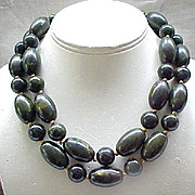 Huge 2 Strand Bakelite Necklace - Green Marbled Beads - Marvella