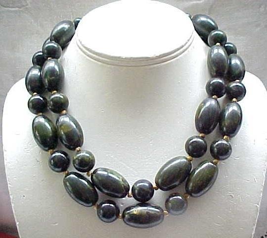 04 - Huge 2 Strand Bakelite Necklace - Green Marbled Beads - Marvella
