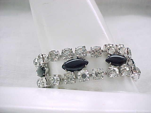 Stunning Weiss Rhinestone Bracelet with Black Cabochons