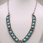 Spectacular Sterling, Turquoise Necklace - Large Centerpiece - Signed Carlos