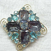 12 - Juliana Brooch - Scroll Work, Sapphire Blue Emerald Cut Rhinestones