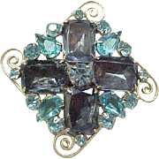 Juliana Brooch - Scroll Work, Sapphire Blue Emerald Cut Rhinestones
