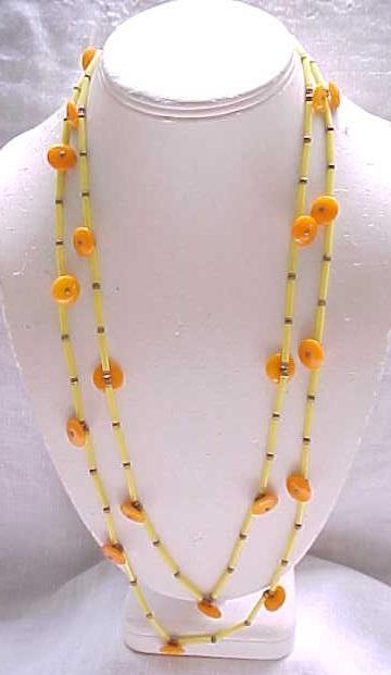 07 - Pretty Necklace Orange Button Beads, Yellow Tube Beads - Matching Bracelet