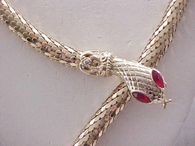 10 - Long Mesh Snake Necklace/Belt - Red Rhinestone Eyes