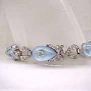 Exquisite Trifari Moonstone Shoebutton Bracelet with Rhinestones