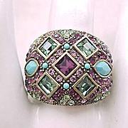 Heidi Daus Ring - Purple, Green, Turquoise - Size 10