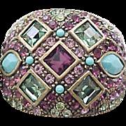 Heidi Daus Ring - Purple, Green, Turquoise - Size 10