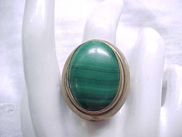 Chunky Brass and Malachite Ring - Size 7 3/4
