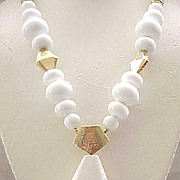Chic Trifari Necklace .  Large White Beads, Marbled Centerpiece