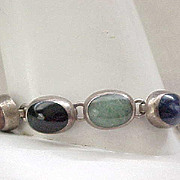 Chunky Sterling Silver Bracelet, Lapis, Black and Green Onyx