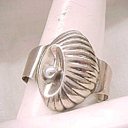 Huge Sterling Silver Cuff Bracelet - Stylized Shell with Sterling Pearl