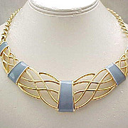 Pretty Blue Enamel Monet Goldtone Necklace