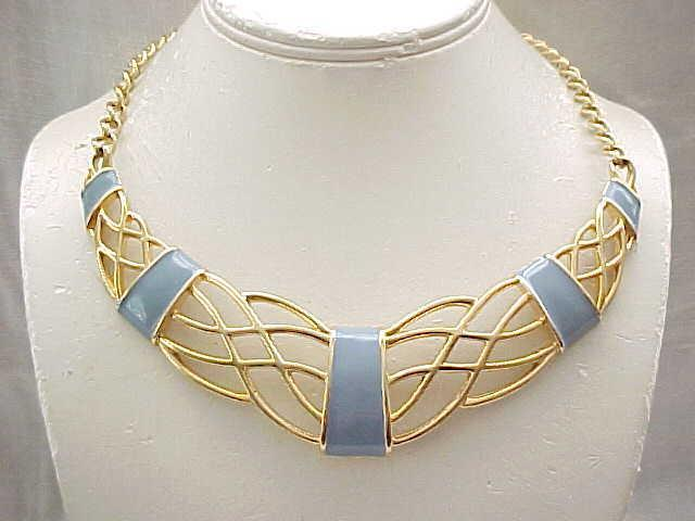 Pretty Blue Enamel Monet Goldtone Necklace