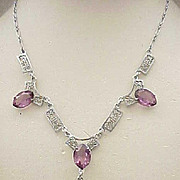 Art Deco Filigree Exquisite Necklace, Purple Rhinestones - signed