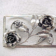 Gorgeous Sterling Double Rose Pin, Picture Frame