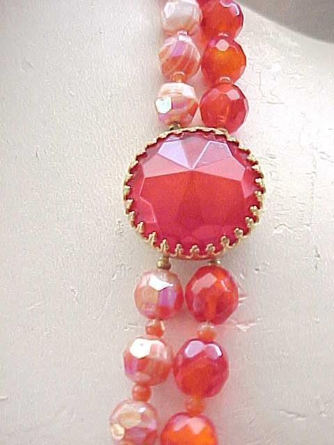 Gorgeous Hattie Carnegie 2 Strand Necklace - Red-Orange Beads
