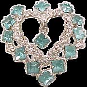 08 - Aqua Rhinestone Heart Pin with Dangle