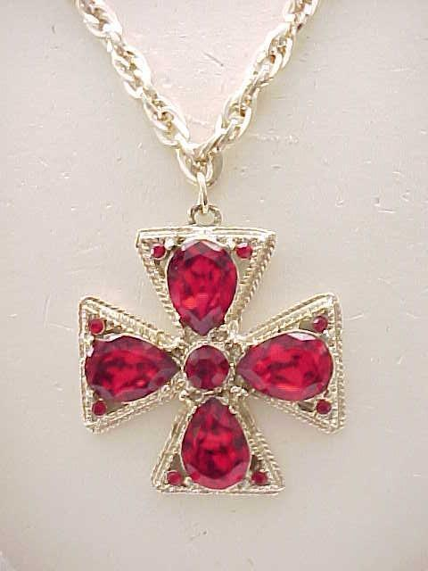 07 - Maltese Cross Pendant Necklace - Gorgeous Ruby Red Rhinestones