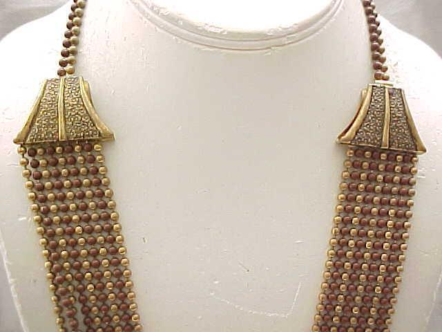 1940's Egyptian Revival Multi Chain Necklace