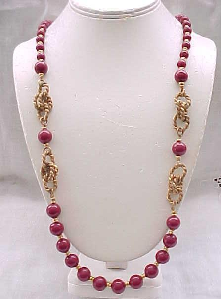 Miriam Haskell Long Burgundy Wine Necklace with Roping Detail