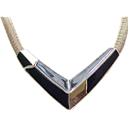 11 - Chic Trifari Black Enamel and Goldtone Necklace