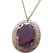 Gorgeous Pendant Purple Stone, Gold Filled Chain