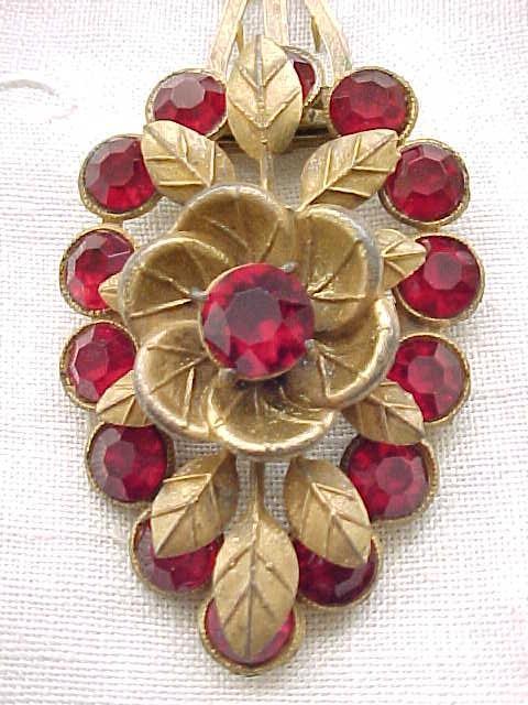 Stunning Czech Dress Clip - Ruby Red Rhinestones