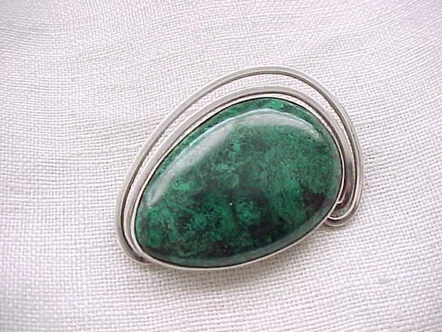 Stunning Sterling Pin/Pendant with Green Natural Stone - Modernist