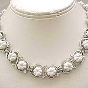 Lovely Trifari Necklace and Earrings - White with Rhinestones