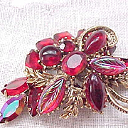 Dynamite Brooch - Ruby Red and Iridescent Molded Glass