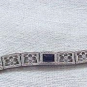Sterling Silver Simmons Art Deco Bracelet - Sapphire Blue Stones