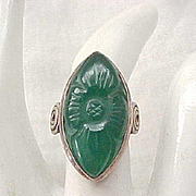 Chrysoprase and Sterling Silver Ring - Carved Design - Size 5