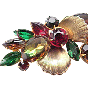 Fabulous Large Juliana Brooch Metal Accents, Heliotropes, Carved Navettes