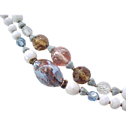 Superb Long Necklace Venetian Beads, Crystals, All Glass