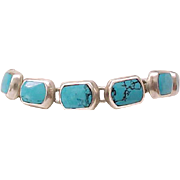 Sterling Silver and Turquoise Bracelet - Exceptionally Nice - 950 Silver