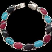 Sterling Bracelet Natural Stones - Turquoise, Onyx, Red Jasper