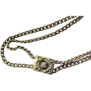 Signed Long Watch Chain Victorian/Edwardian with Slide
