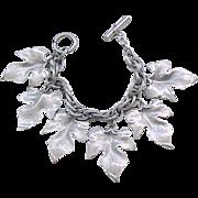Leaf Charm Bracelet - Hammered Aluminum - Mid Century