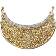 Elegant Vendome Collar Necklace - Filigree and Pave' Set Rhinestones